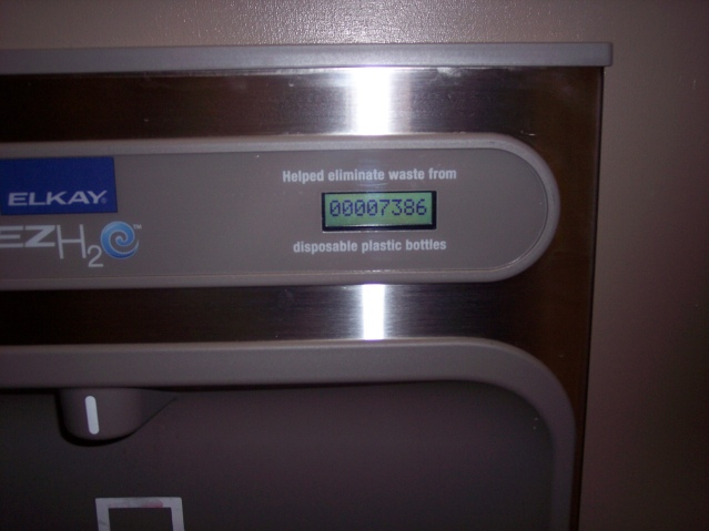 Gage on new UB water fountain tracks how many water bottles are filled