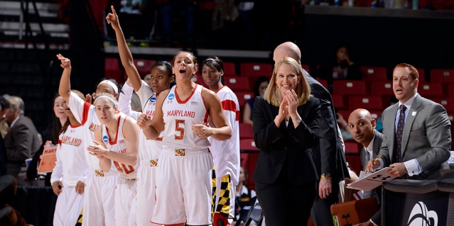 Head coach Brenda Frese proudly looks on as her team battles in the first round of the NCAA Tournament (photo courtesy of Maryland Athletics)