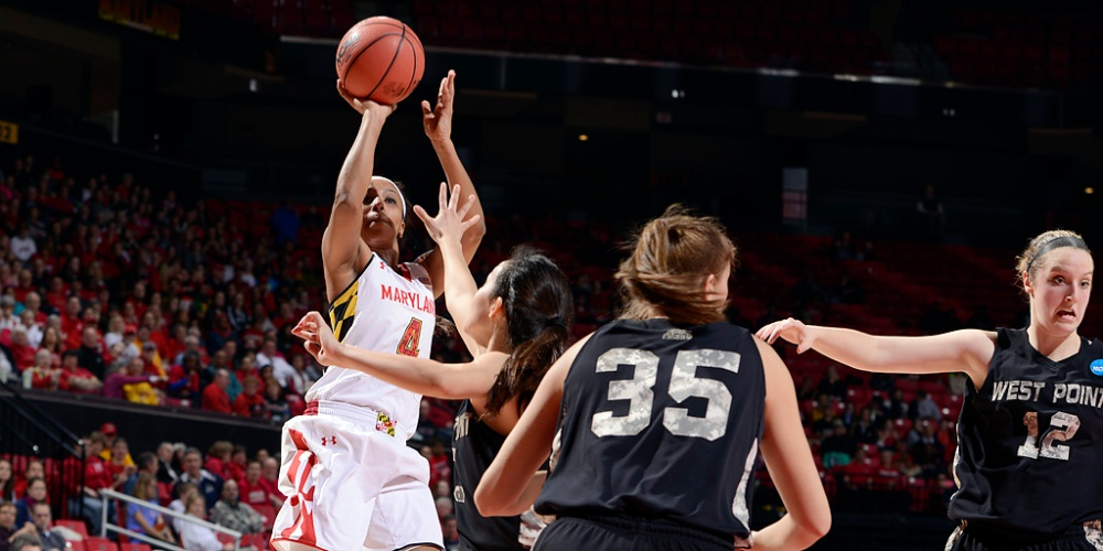 Lexie Brown pulls up for a jumper. (photo courtesy of Maryland Athletics)