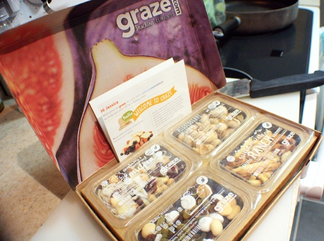 The graze box arrives just like this. It includes a coupon code and nutritional information for all of your snacks.