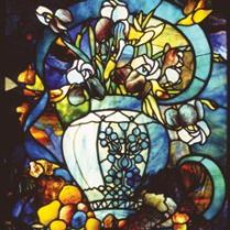 Vase with Flowers by Louis Comfort Tiffany Manufactured by Tiffany Glass Company