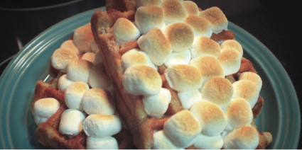 Sweet potato waffles with toasted marshmallows is an ideal option for any brunch menu—try it at your next one