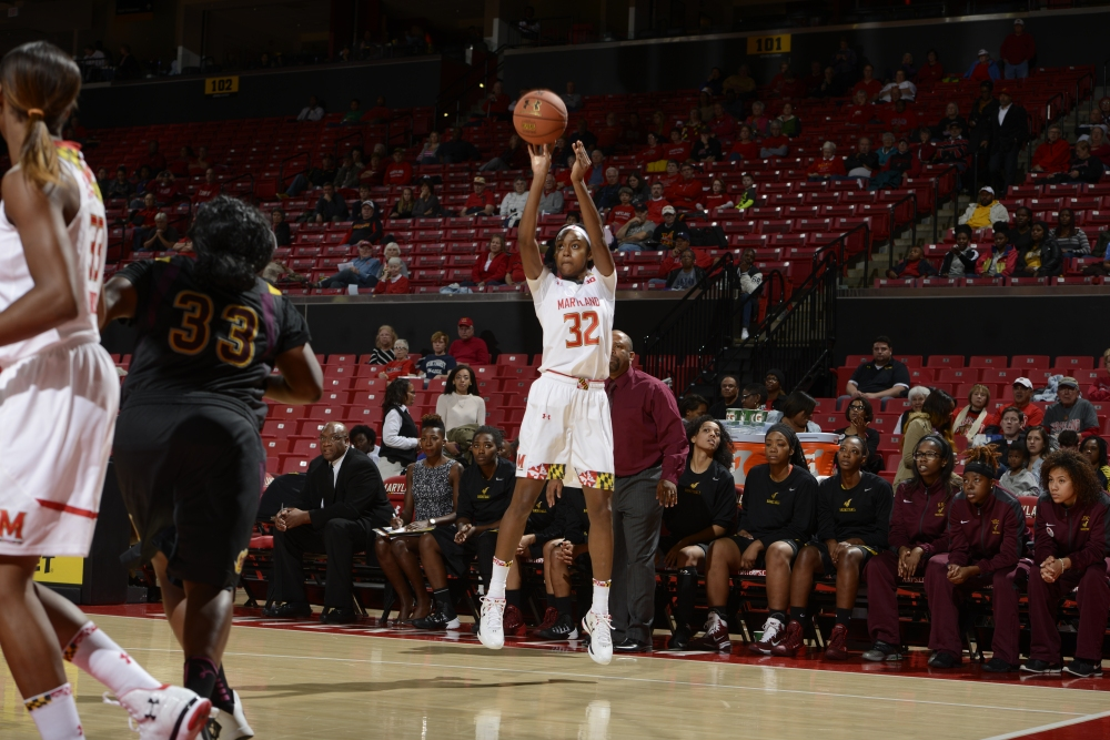 Shatori Walker-Kimbrough scored 17 points in Maryland's final non-conference game at Coppin State.  Photo Credit: University of Maryland Department of Athletics.