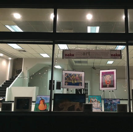 Make Studio, a community arts organization, occupies the ground floor of the Schwing Building.
