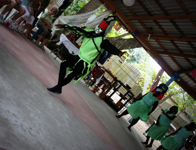 embers of the Garifuna, a local tribe, sing and dance to one of their tribe's songs Song of the Sun.