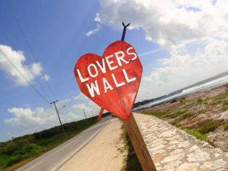 Lover's Wall is a rock wall along- side Heritage Beach. Photo courtesy of Cayman Tourism