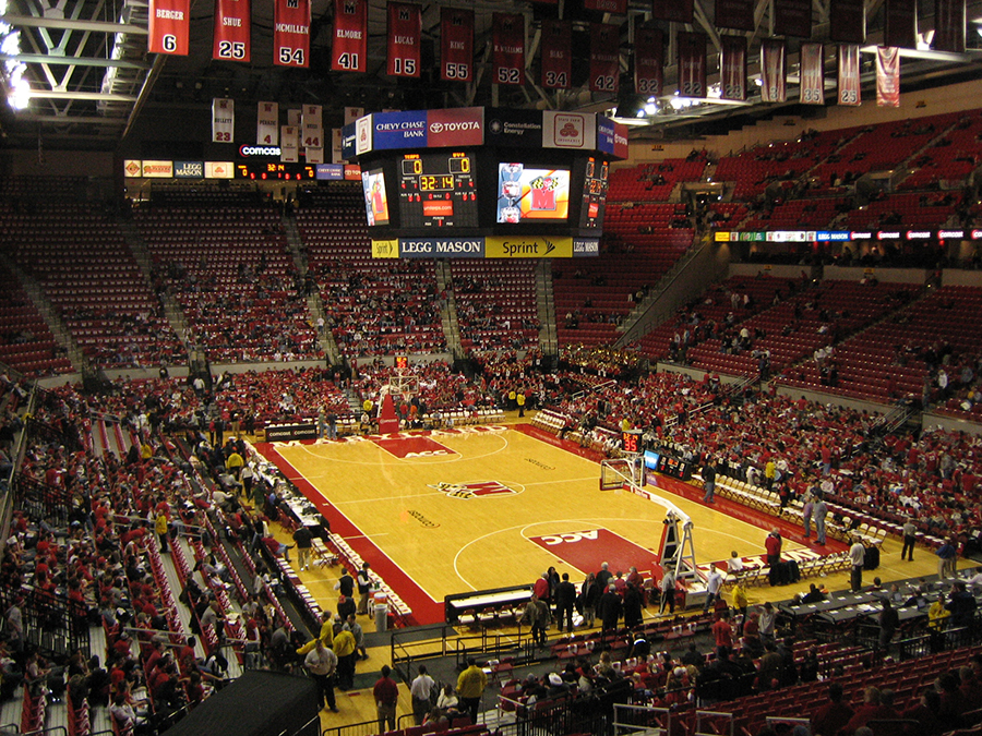 Interior view of the Xfinity Center, home of Maryland basketball, prior to joining the Big 10. Photo courtesy of Wikipedia user Wlaw422, under a Creative Commons License