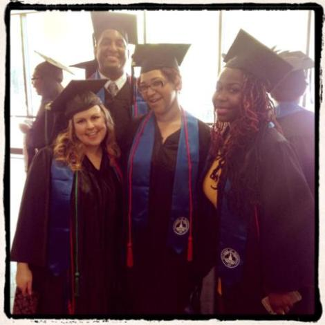 From left to right: Jessica Greenstein (Editor in Chief), Robert Summerville (Production Manager), Keiya West (Business Manager), and Fatimah Nelson (Production Assistant)