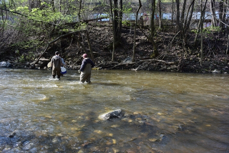 Volpitta, Harris and Bellmyer head out to collect sewage samples at the first outfall of the morning.
